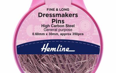 Hemline Dressmakers Pins – 0.60mm x 30mm – Fine & Long – Steel (H701.P)