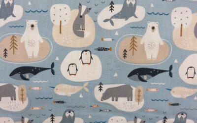 Dashwood – Habitat – Pale Blue Winter Animal Print (3197)