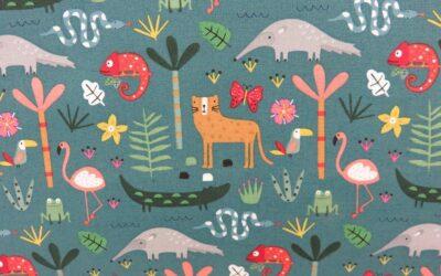 Dashwood – Habitat – Grey Blue Tropical Animal Print (3199)